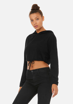 womens crop long sleeve tie hoodie black