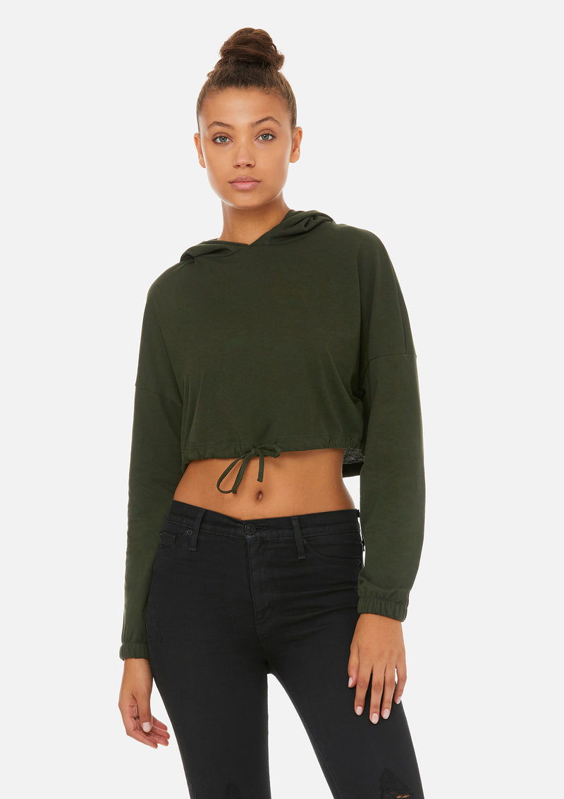 womens crop long sleeve tie hoodie dark olive