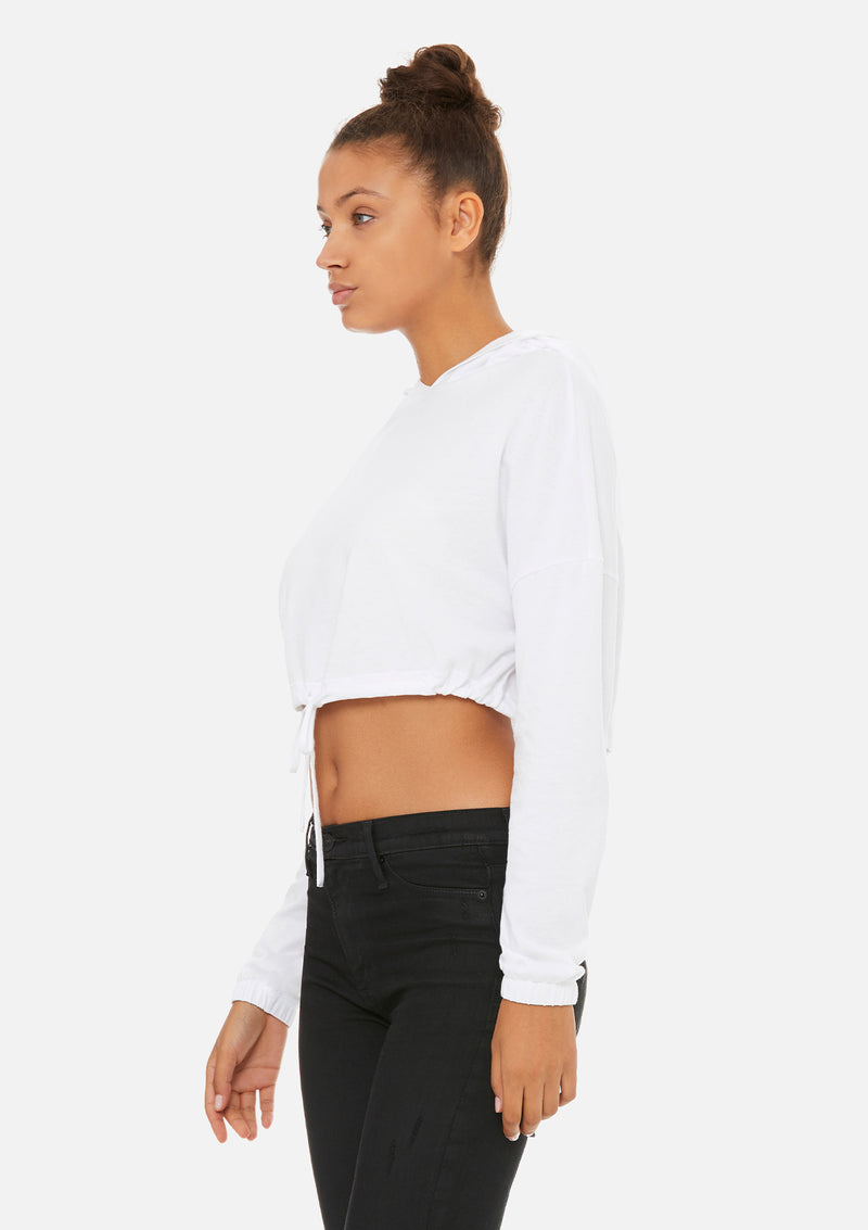womens crop long sleeve tie hoodie white