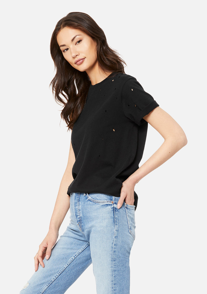womens distressed tee black