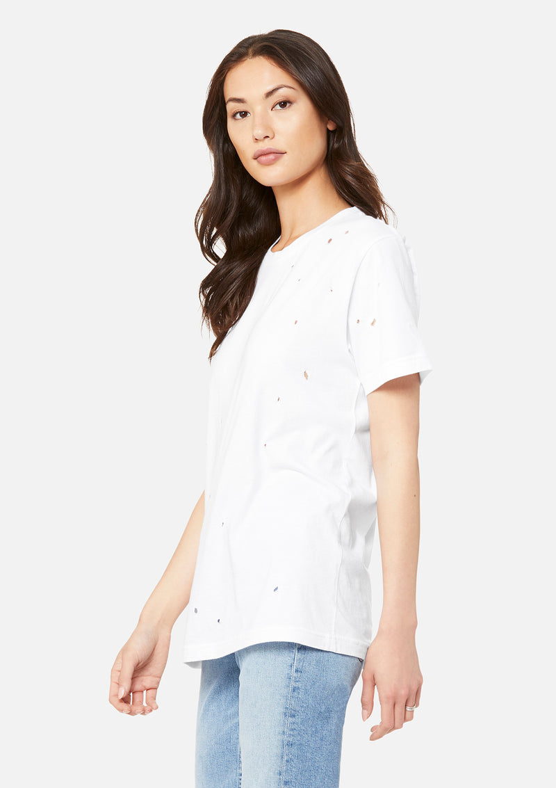 womens distressed tee white