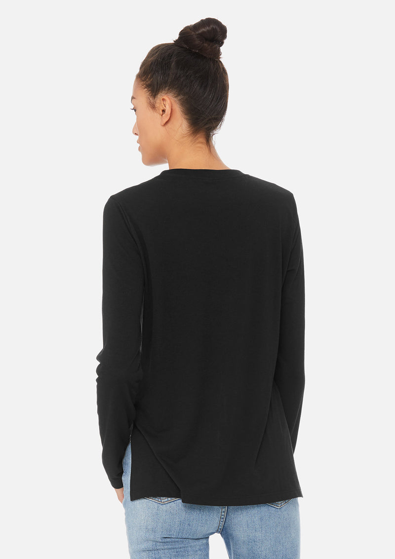 womens elevated long sleeve black