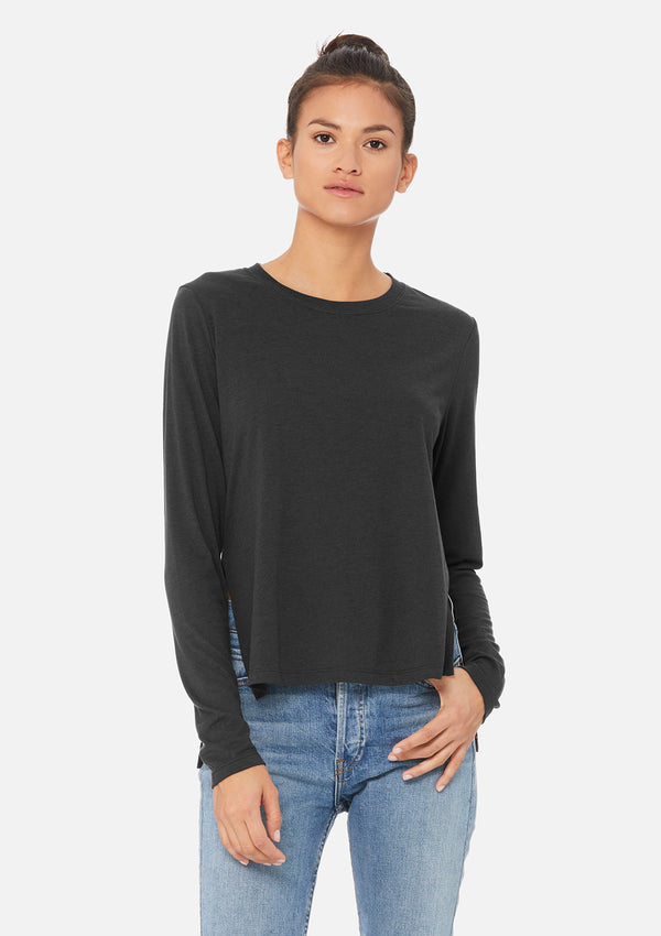womens elevated long sleeve dark grey