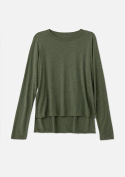 womens elevated long sleeve military green