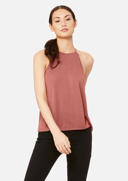 womens high neck tank mauve