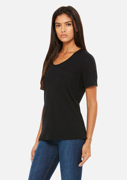 womens pocket tee black