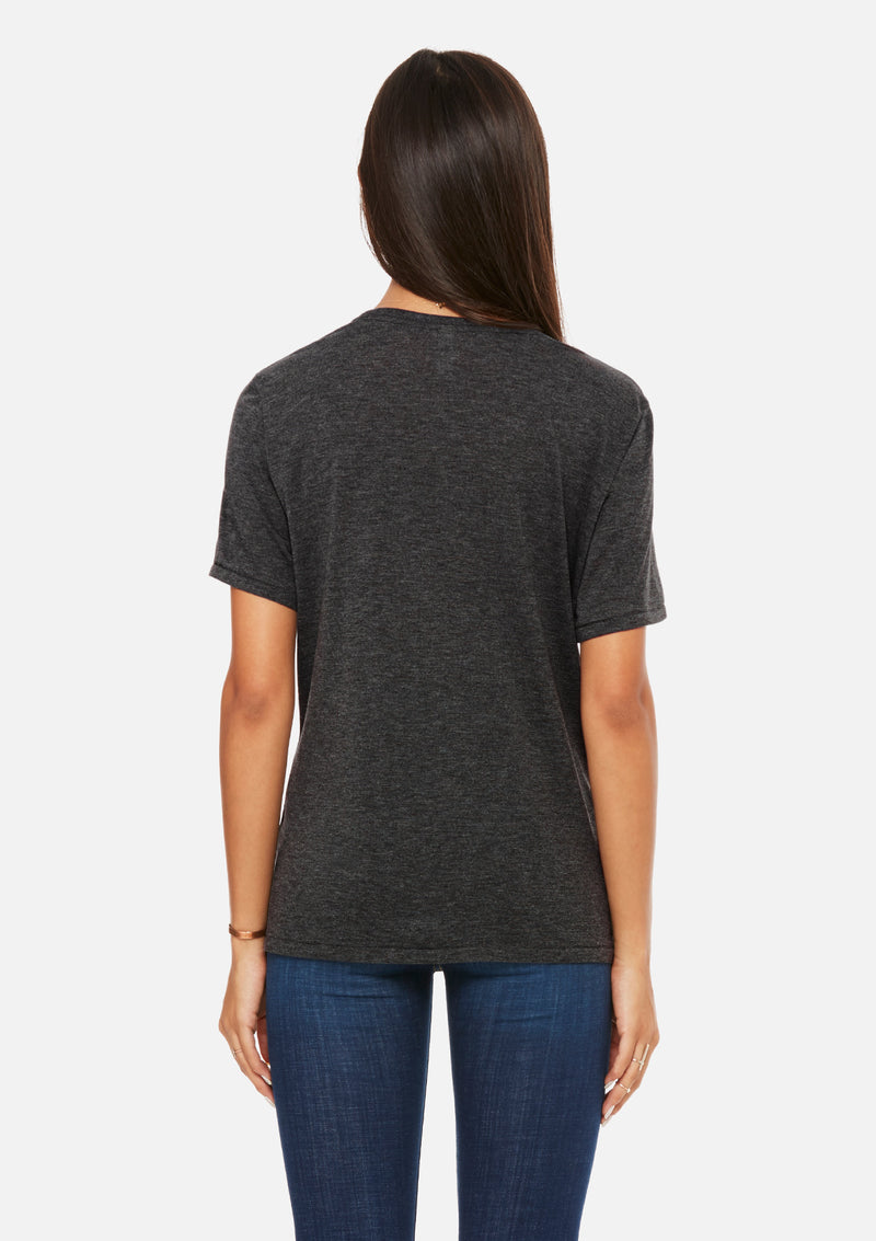 womens pocket tee dark grey heather