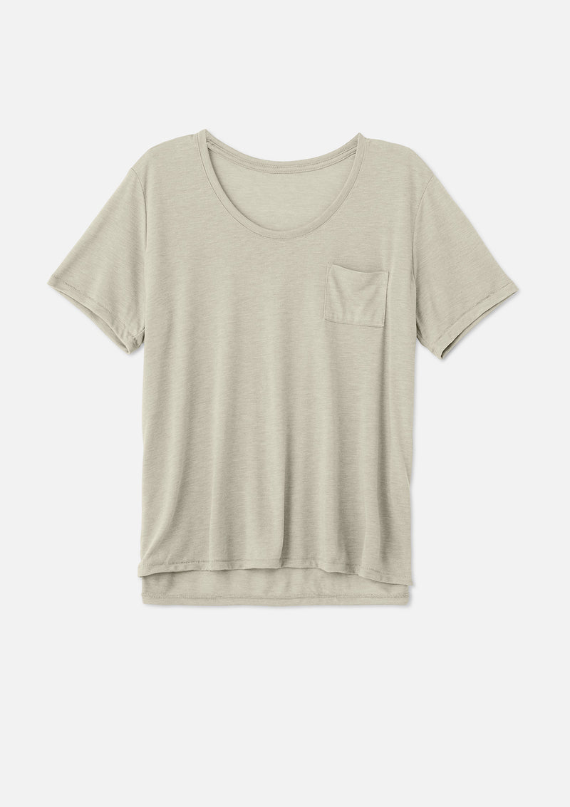 womens pocket tee heather stone