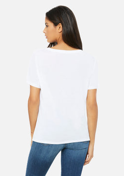 womens slouchy vneck tee white