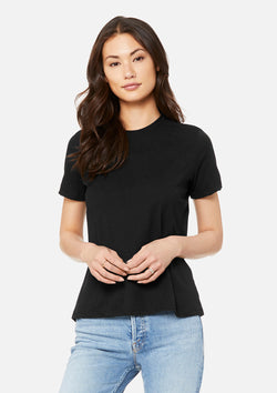 womens triblend crew tee black
