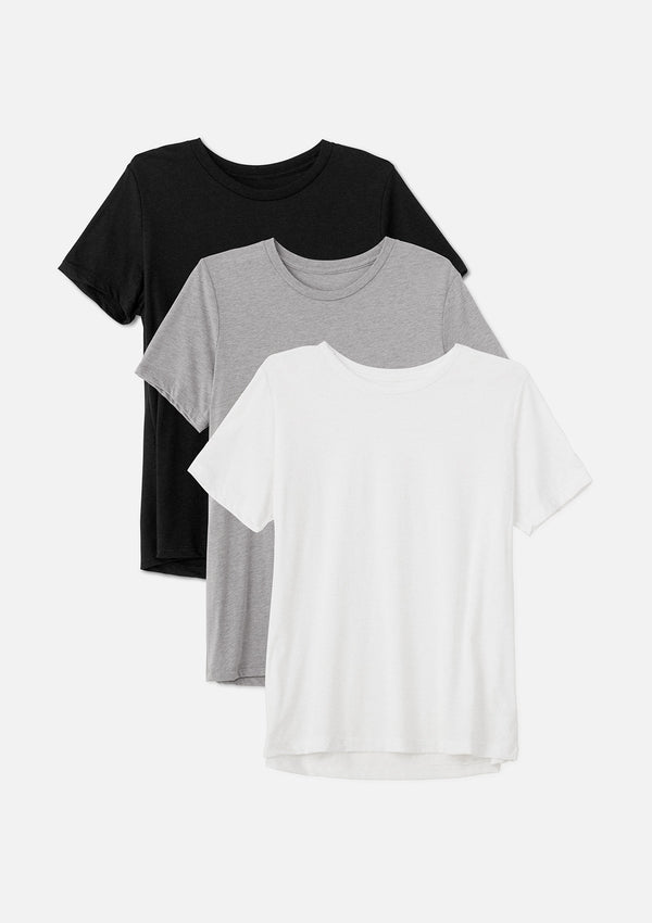 womens triblend crew tee black athletic grey white bundle
