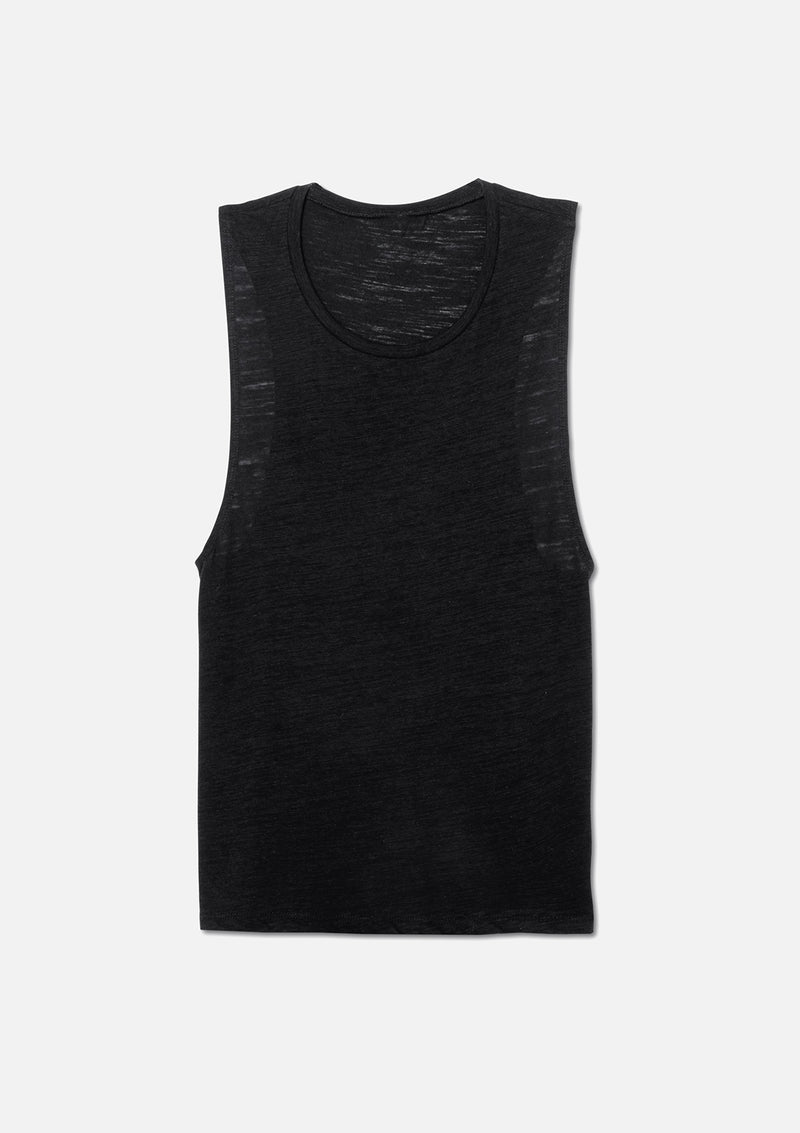 womens vintage slub scoop tank black hanger