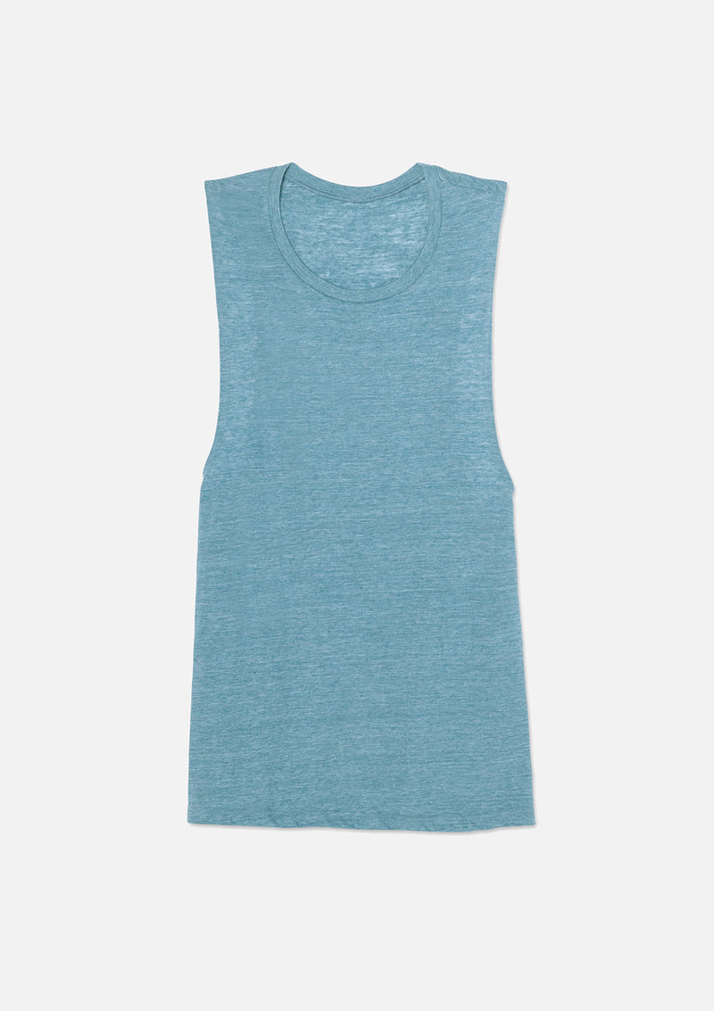 womens vintage slub scoop tank denim
