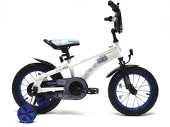 View White with Blue Wheels Boys 14 inch Bike in detail