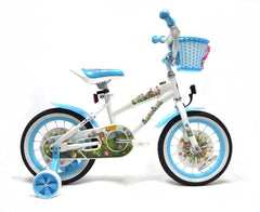 View White with Baby Blue Wheels Girls 14 inch Bike with Front Basket in detail