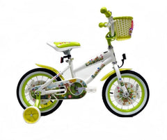 View White with Green Wheels Girls 14 inch Bike with Front Basket in detail