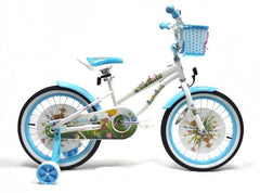 View White with Baby Blue Wheels Girls 18 inch Bike with Front Basket in detail