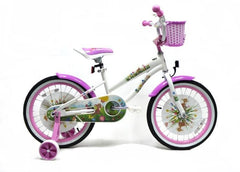 View White with Pink Wheels Girls 18 inch Bike with Basket in detail