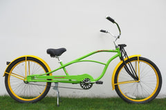"View Flat Lime Green with Flat Yellow Wheels 26"" Single-Speed STRETCH Cruiser with Springer Front Fork in detail"