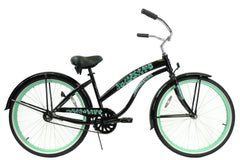 View Black with Mint Green Wheels Womens 26 inch Beach Cruiser Bike Single Speed BC-106L in detail