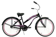 View Black with Pink Wheels Womens 26 Inch Beach Cruiser Bike BC-106P in detail