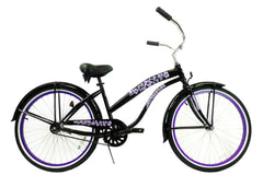 View Black with Purple Womens 26 Inch Beach Cruiser Bike BC-106PL in detail