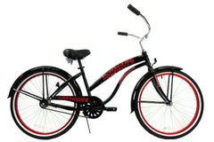 View Black with Red Wheels Womens 26 Inch Beach Cruiser Bike BC-106P in detail