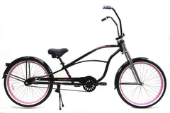 "View Black with Pink Wheels 26"" Single-Speed STRETCH Cruiser with Ape Hanger Handlebar in detail"