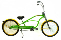 "View Flat Lime Green with Flat Yellow Wheels 26"" Single-Speed STRETCH Cruiser with Ape Hanger Handlebar in detail"