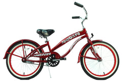 View Burgundy Red 20 Inch Girls Beach Cruiser Bike Single Speed BC-2006 in detail