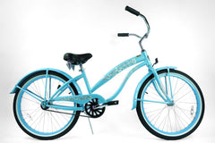 View Baby Blue Womens 24 Inch 1 Speed Beach Cruiser Bike BC-2406 in detail
