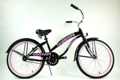 View Black With Pink Wheels Ladies 24 Inch Beach Cruiser Single Speed BC-2406 in detail