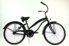 View Flat Black With Pink Wheels Ladies 24 Inch Beach Cruiser Single Speed BC-2406 in detail