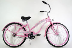 View Pink 24 Inch Ladies Beach Cruiser Bike Single Speed BC-2406 in detail