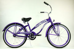 View Purple 24 Inch Ladies Beach Cruiser Bike Single Speed BC-2406 in detail