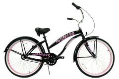 View Black with Pink Womens 26 Inch Beach Cruiser Bike BC-306 in detail
