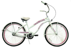 View Pearl White with Pink Womens 26 Inch Beach Cruiser Bike BC-306 in detail