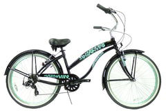 View Black with Mint Green Wheels Womens 26 inch Beach Cruiser Bike Seven Speed BC-706PL in detail