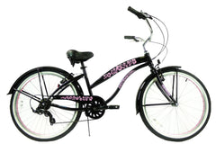 View Black with Pink Wheels Womens 26 inch Beach Cruiser Bike Seven Speed BC-706L in detail