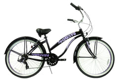 View Black with Purple Wheels Womens 26 inch Beach Cruiser Bike Seven Speed BC-706L in detail