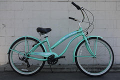 View Mint Green Womens 26 inch Beach Cruiser Bike Seven Speed BC-706PL in detail