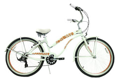 View Pearl White with Orange Wheels Womens 26 inch Beach Cruiser Bike Seven Speed BC-706L in detail