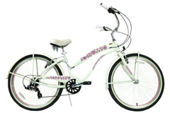 View Pearl White with Pink Womens 26 inch Beach Cruiser Bike Seven Speed BC-706PL in detail