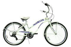 View Pearl White with Purple Womens 26 inch Beach Cruiser Bike Seven Speed BC-706PL in detail