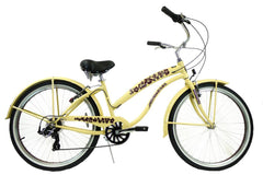 View Vanilla with Brown Womens 26 inch Beach Cruiser Bike Seven Speed BC-706L in detail