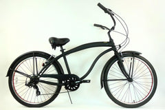 View Flat Black with Red Wheels Mens 26 inch Beach Cruiser Bike Seven Speed BC-706M in detail