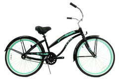 View Black with Mint Green Blue Womens 26 inch Beach Cruiser Bike Single Speed Kruiser 1 A L in detail