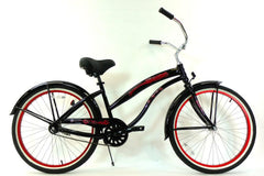 View Black with Red Womens 26 inch Beach Cruiser Bike Single Speed Kruiser 1 A L in detail
