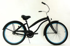 View Flat Black with Baby Blue Womens 26 inch Beach Cruiser Bike Single Speed Kruiser 1 A L in detail