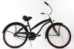 View Flat Black with Pink Womens 26 inch Beach Cruiser Bike Single Speed Kruiser 1 A L in detail